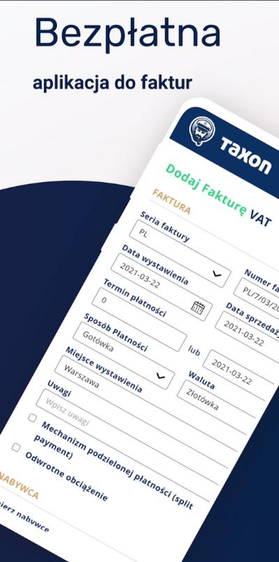 taxon bezpłatana aplikacja do faktur